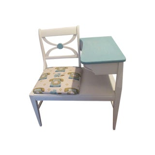 Gossip Bench Telephone Table With Fabric Seat