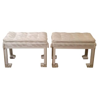 Vintage Lacquered Upholstered Benches or Footstool