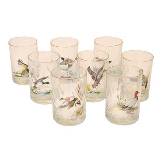 Vintage Ned Smith Hand Painted Hunting Scene Bar Glasses - Set of 8