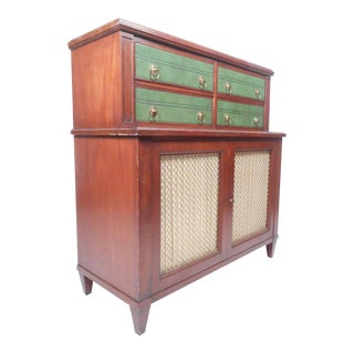 Vintage Modern Renzo Rutili Green Leather Front Dresser for Johnson Furniture