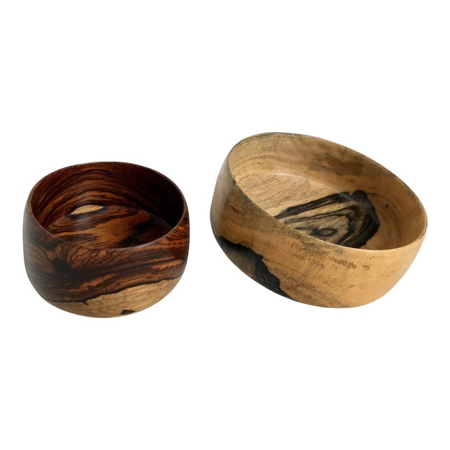 P. S. Miner Sculptural Hand Turned Wooden Bowls- Set of 2 - Image 1 of 9