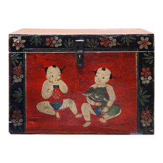 Chinese Vintage Red Children's Themed Trunk