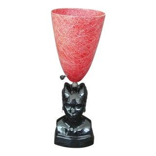 African Princess Black Ceramic Table Lamp
