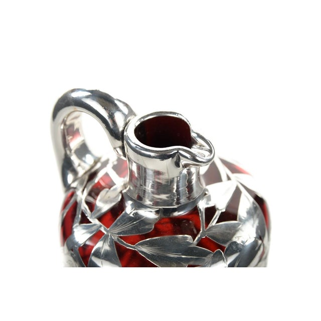 Antique Art Nouveau Silver Overlay Ruby Decanter - Image 9 of 9