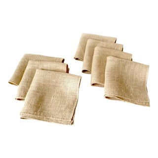 Vintage Hemp Linen Cocktail Napkins - Set of 7