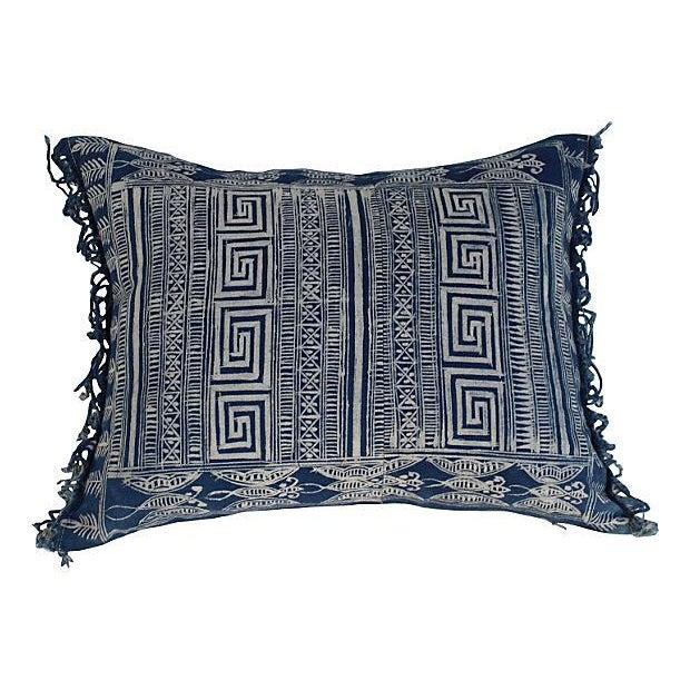 Indigo Batik Fringe Pillow - Image 3 of 5