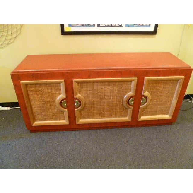 Image of Exceptional Mid Century Breakfront Faux Leather Finish