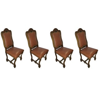 Rococo Style Leather Chairs - Set of 4