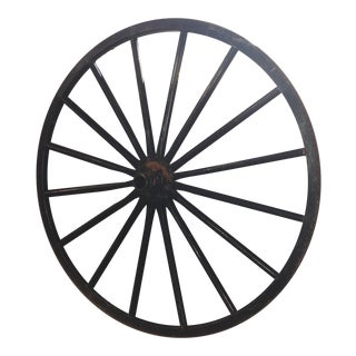 Primitive Decorative Black Wood Wagon Wheel