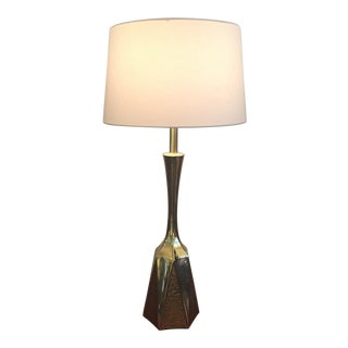 1960s Brutalist Brass Lamp by Laurel Co.