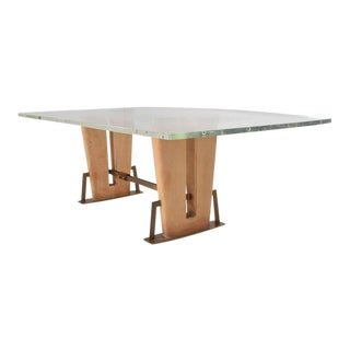 Mexican Modernist Lucite & Saddle Leather Dining Table