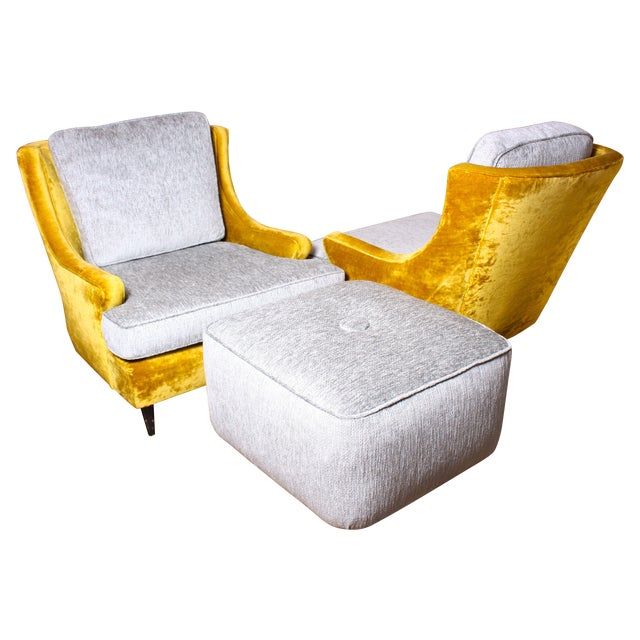 American Modern Lounge Chairs & Ottoman - A Pair - Image 1 of 7