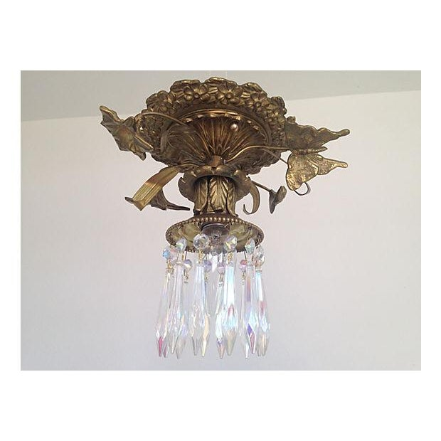 1930s Brass & Crystal Ceiling Light - Image 2 of 6