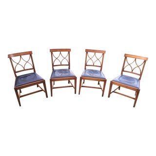 Baker Leather Upholstered Chairs - Set of 4