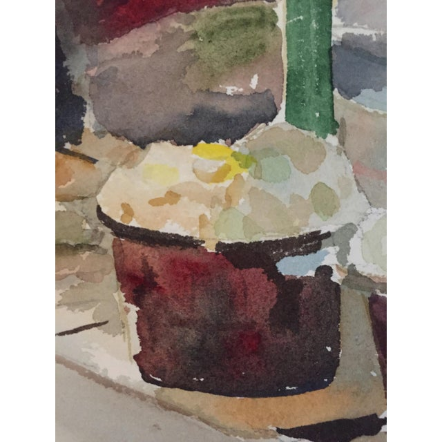 Thelma Moody Gouache Farmer's Market Painting - Image 4 of 7