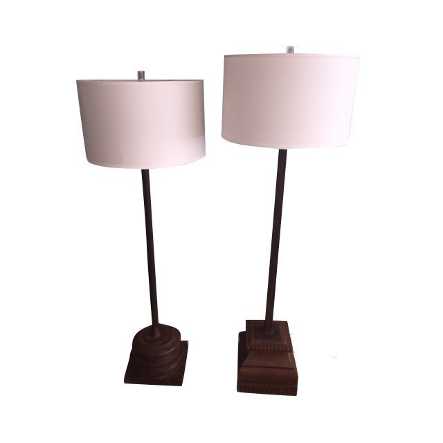 Antique Asian Wood & Metal Floor Lamps - A Pair - Image 1 of 7