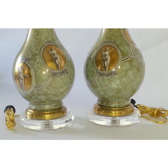 Mid-Century Table Lamps Eglomise Style - Image 9 of 11
