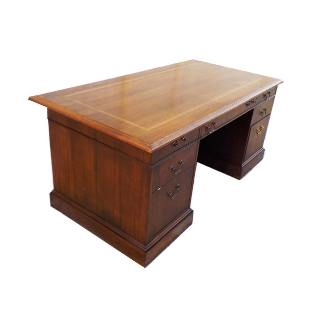 Vintage Wood Executive Traditional Desk by Hiebert - Image 3 of 9