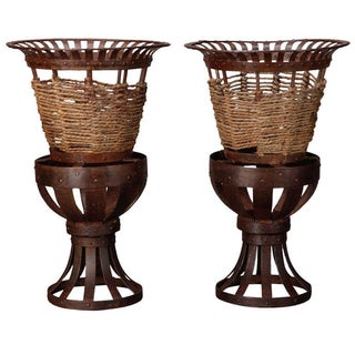 French Iron & Jute Jardinières - A Pair