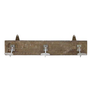 Three Hook Wooden Plank Rack