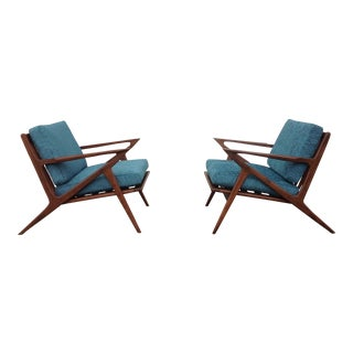 Mid Century Modern Style Z Lounge Chairs - Pair