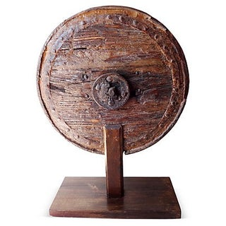 Antique Wooden Wheel on Stand