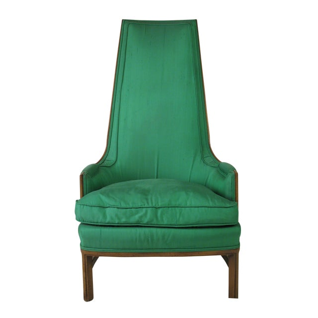 Mid-Century Emerald Highback Lounge Chair - Image 1 of 6
