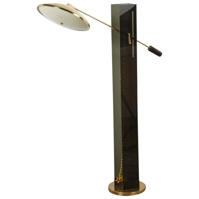 Smoke Acrylic and Brass Mid-Century Floor Lamp - Image 1 of 7