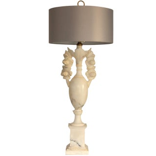 Monumental Italian Marble Lamp with Shade