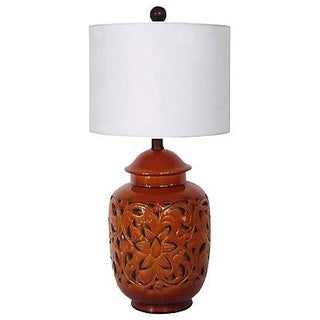 California Pottery Mid-Century Lattice-Cut Lamp