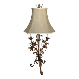 Vintage Gilded Gold Tole Floral Table Lamp