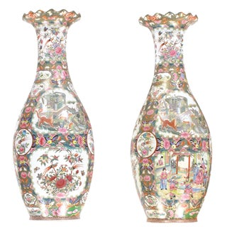 Pasargad N Y Chinese Polychrome Hand Painted Porcelain Vases - A Pair