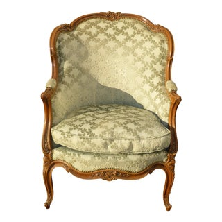 Antique Carved French Louis XV Style Barrel Back Bergere Chair