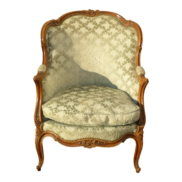 Antique Carved French Louis XV Style Barrel Back Bergere Chair - Image 1 of 11