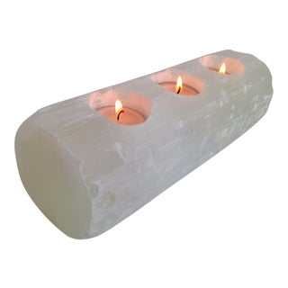 Selenite Branch Tealight Candle Holder