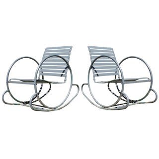 Art Deco Patio Metal Hoop Rocking Chairs - A Pair
