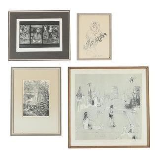 Minimal Gallery Wall Art Paintings - Set of 4