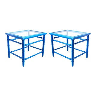 Mid-Century Royal Blue Side Tables - A Pair