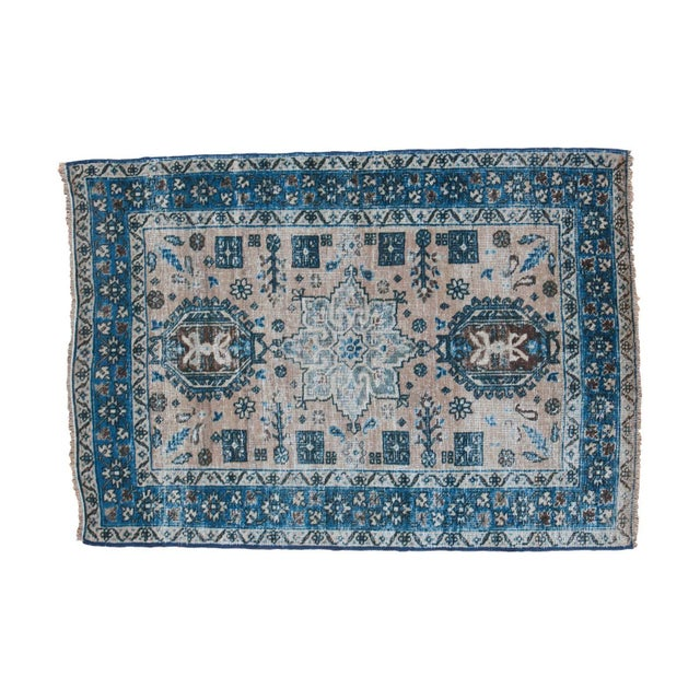 Image of Distressed Heriz Square Rug - 3' x 4'3""