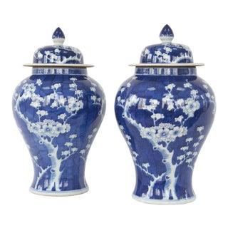 Blue & White Cherry Blossom Temple Jars - A Pair