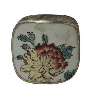 Chinese Floral Porcelain Nickel Trinket Box