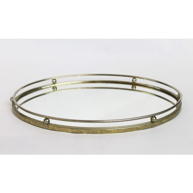 Art Deco Brass Oval Mirrored Vanity Tray - Image 2 of 6