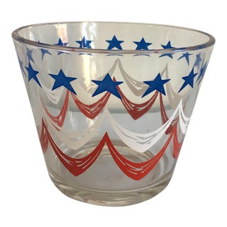 Vintage Glass Ice Bucket With Blue Stars