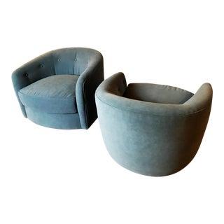 Milo Baughman For Selig Walnut Based Swivel Tilt Chairs - A Pair