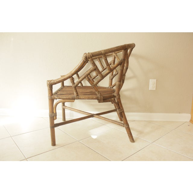 Rattan Chippendale Barrel Armchair - Image 4 of 7