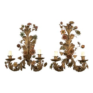 Large French Painted Tole Two Light Wall Sconces - Pair