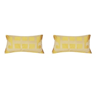 Marrakesh Yellow Geometric Silk Lumbar Pillows - a Pair