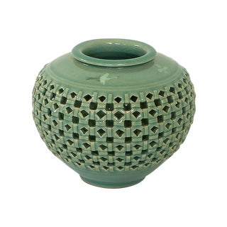 Vintage Celadon Reticulated Double Wall Vase