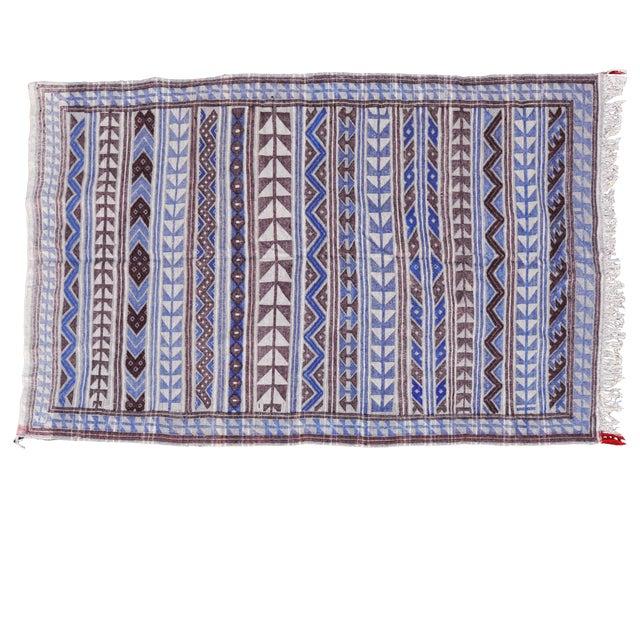 "Moroccan Flatweave Violet & Blue Rug - 4'10"" x 7' - Image 1 of 8"