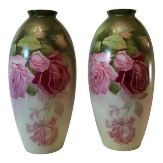 Floral Porcelain Vases - A Pair